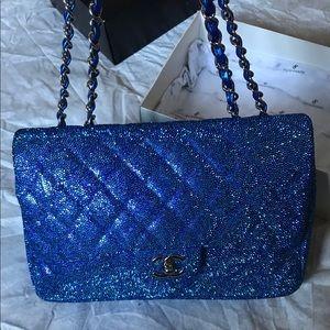 Authentic Iridescent Blue Chanel Jumbo Sin…